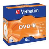 Verbatim DVD-R 4.7GB 16x 5er Pack Jewel Case silber