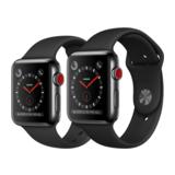 Apple Watch Series 3 42mm GPS+Cellular Edelstahlgehäuse Space Schwarz mit Sportarmband Schwarz