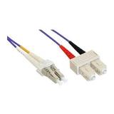 InLine LWL Duplexkabel OM4 LC/SC 50/125µm Violett 2m