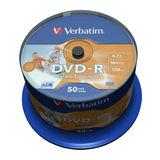 Verbatim DVD-R 4,7GB 16x Inkjet printable, unbranded, 50er Spindel