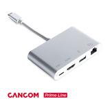 CANCOM Prime Line Multiport USB-C Adapter auf HDMI, Gigabit Ethernet, USB-C und USB-A, unterstützt 4kx2k@30Hz