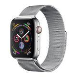 Apple Watch Series 4 44mm GPS+Cellular Edelstahlgehäuse Silber mit Milanaise-Armband Silber