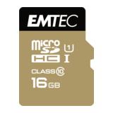 Emtec microSDHC Karte 16GB UHS-I Class10 gold inkl. Adapter