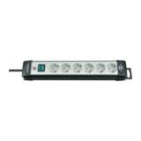 Brennenstuhl Premium-Line Steckdosenleiste Schwarz mit Grau 6 Steckdosen Schutzschalter 5 m