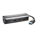 Kensington UA3000E USB 3.0 zu Ethernet Adapter mit 3 Port USB Hub Schwarz