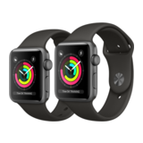 Apple Watch Series 3 38mm GPS Aluminiumgehäuse Space Grau mit Sportarmband Grau