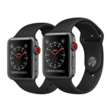 Apple Watch Series 3 42mm GPS+Cellular Aluminiumgehäuse Space Grau mit Sportarmband Schwarz