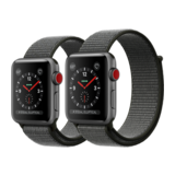 Apple Watch Series 3 42mm GPS+Cellular Aluminiumgehäuse Space Grau mit Sport Loop Dunkeloliv