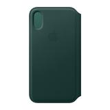 Apple Leder Flip Case für iPhone XS Waldgrün