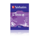 """DVD+R Verbatim 4,7GB  5pcs Pack 4x Videobox azo silver retail"""