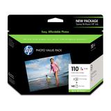 HP 110 Serie Value Fotoset Druckpatrone Nr. 110 für Photosmart A432/A433/A436/A516/A618/A646/A717 3-farbig und 140 Blatt Advanced Fotopapier 10x15cm