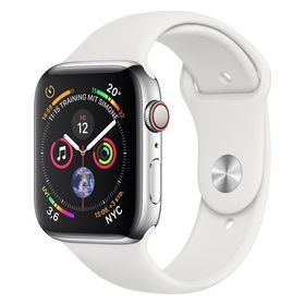 Apple Watch Series 4 44mm GPS+Cellular Edelstahlgehäuse Silber mit Sportarmband Weiß